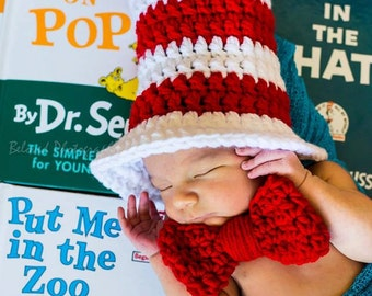 Handmade Cat in the Hat Photo Prop // Baby Boy Girl Infant Newborn Shower Gift // Dr. Seuss Outfit