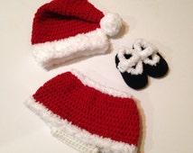 Mrs Claus Costume, Multiple sizes, Christmas Photo Prop, Handmade Crochet, Preemie, Newborn, 3, 6, 9, 12 months