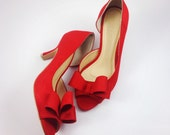 Red Wedding Shoes, Red Bridal Shoes, Scarlet Wedding Shoes, Red Suede Bow Heels, Red Wedding Shoes, Bright Red Suede Bridal Shoes
