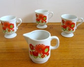 Red and Orange Flower Power Mugs and Creamer