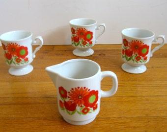 Red and Orange Flower Power Mugs and Creamer