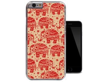 Ornate Red Elephants iPhone 6 Case Aztec iPhone 5 Case Tribal iPhone 5c Case Ethnic Wood iPhone 4 Case Unique iPhone 4s 5s Cover (A258)