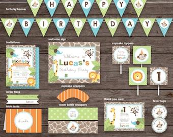 First Boy Birthday Monkey & Jungle Animals Package, DIY Printable