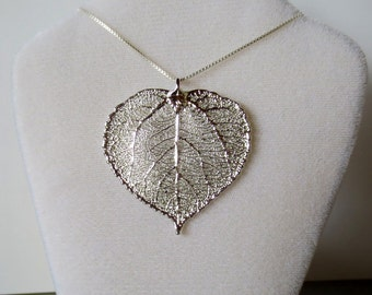 Silver Aspen Leaf Necklace/Genuine Aspen Leaf Pendant/Silver Aspen Leaf Necklace/Aspen Leaf Charm/Nature Jewelry/