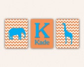 Chevron Elephant Monogram and Giraffe Print Set - Turquoise and Orange Wall Art - Zoo or Jungle Nursery Art 0005