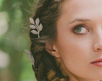 Silver Leaf Bobby Pins Leaf Hair Pins Leaf Hair Clips Bridal Bobby Pins Bridal Hair Pins Bridal Hair Clips Woodland Wedding Hair Accessories