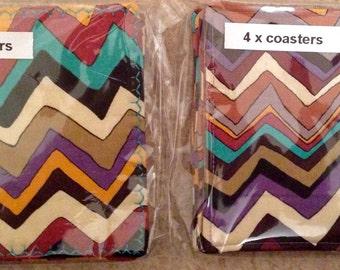 Colourful chevron wallpaper reversible cotton coasters