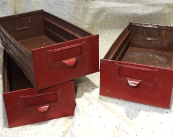Red Metal Drawers, Rusty Industrial Factory Salvage, Repurpose as Organizers