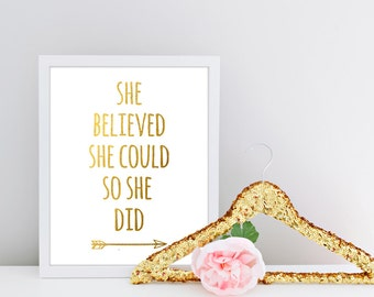 She Believed She Could So She Did, Faux Gold Foil, Inspirational Quote, Typographic Print, Motivational Print, Inspiring