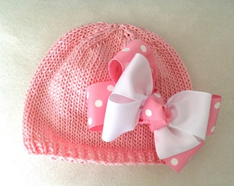 Hand Knit Baby Hat Pink with White Polka Dot Double Bow