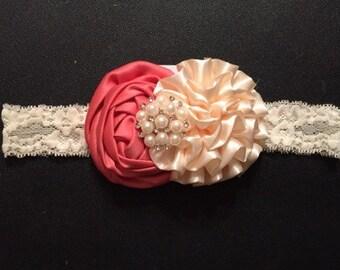 The Ava - Special Occasion lace headband, photo prop, wedding headband, flower girl