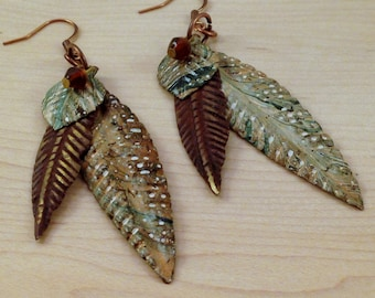 Leaf Earrings - Brown Earrings - Rust Colored Earrings - Long Leaf Earrings - Metal Leaves - Green Leaf Boho Earrings -  Boho Jewelry