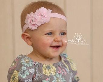 Pink headband, Light pink baby headband, petite chiffon flower headband / Pink baby headband / Easter headband, Girls headband