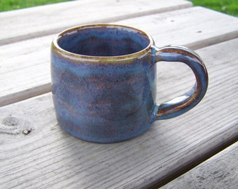 "hand made pottery mug, hand thrown, stoneware clay, fired to cone 6  2 1/2"" high x 3 "" wide"