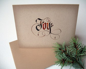 Christmas Joy | Christmas Card Pack | Holiday Cards |  Simple Christmas Cards | Gothic Calligraphy | A2 Greeting Cards | Calligraphy Card |