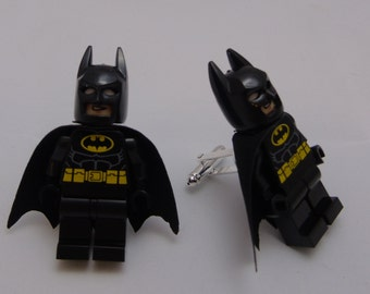 Hand Made NOVELTY Super hero BATMAN Cufflinks~ Ideal Gift WEDDING ~ Same Day Dispatch ~ Made using Lego(r) Compatible Pieces