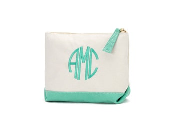 Personalized Canvas Cosmetic Bag-Mint