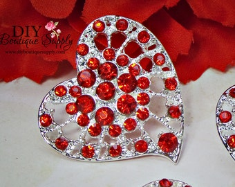 3pcs Large RED Heart Rhinestone buttons Flatback Crystal button Metal Embellishment Scrapbooking flower centers Hair Bow Centers 30mm 827060