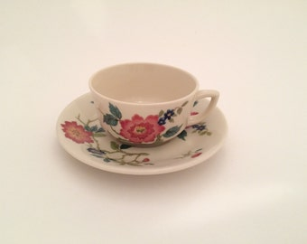 Vintage Walker China Cup and Saucer, Flowers