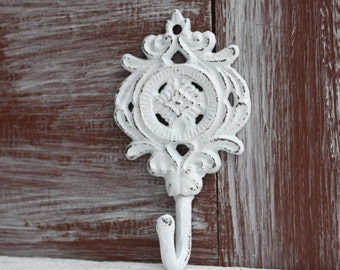 White Hook, Decorative Hook, Ornate Wall Hook, Shabby Distressed Hook, Small White hook, hand towel hanger, Jewelry Hook, Cast Iron Key Hook