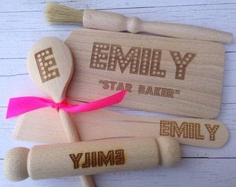 Personalised Wooden Children's Mini Baking Kit
