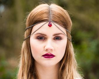 Head Chain, Chain Headdress, Chain Headpiece, Crystal Headchain, Swarovski Crystal, Gunmetal Head chain, Bohemian Head chain, boho headchain