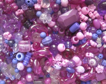 BEAD MIX DESTASH purple plastic beads 450 pieces