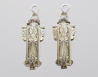 Izzie Floral Etched Brass Earrings