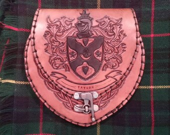 Handmade Leather Sporran with the Taylor Family Crest.