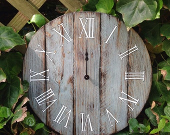 Wood Clock, Beautiful, Rustic and Distressed Circular Clock Made Out of Reclaimed Wood