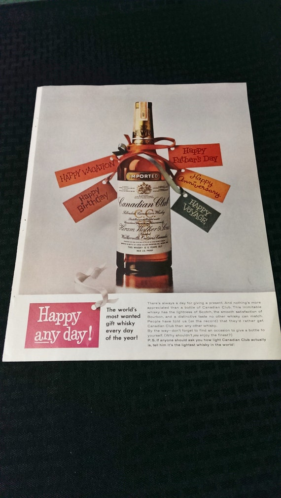Vintage Ad Canadian Club Gift Ideas Man Cave Home Decor