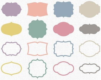 Vintage Vector Label Clip Art - Retro Vector Frame Shapes - Commercial Use Vector Graphics - Banner, Photography Border, Tag, Badge Clipart