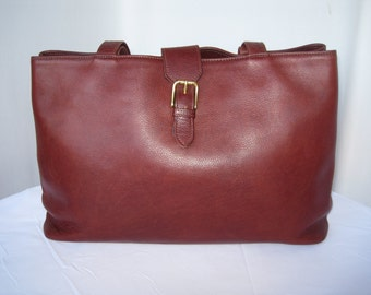 Vintage Soft Pebbled Leather Large Shoulder Bag Tote Briefcase by JACK GEORGES