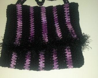 Black and purple messenger bag