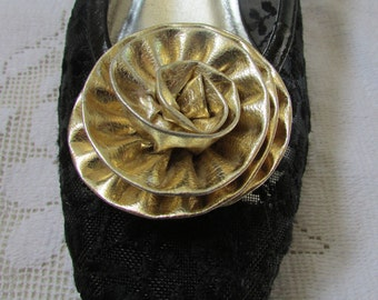 FUN vintage shoe clips huge gold lame flowers formal bridal wedding prom shoe jewelry