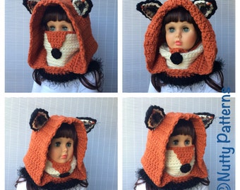 Crochet Patterns * Fox Hooded Cowl * Instant Download Pattern # 484 * baby toddler child teen adult sizes * bulky * easy