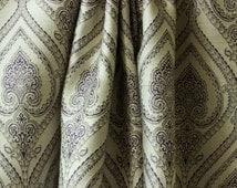 "White Purple Pair of Curtain Panels 50"", Cotton Silk Damask Purple Curtain, Window Curtain, Custom Curtains X 63 84 90 96 108 120"