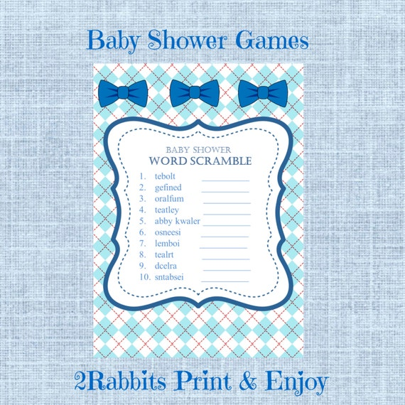 Baby Shower Word Scramble with Answers- Bows Baby Shower Word Scramble ...