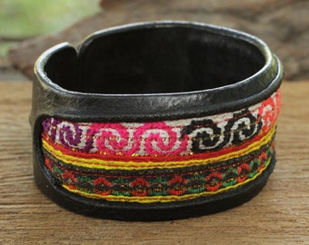 Leather cuff bracelet with traditional Thai hill tribe fabric insert
