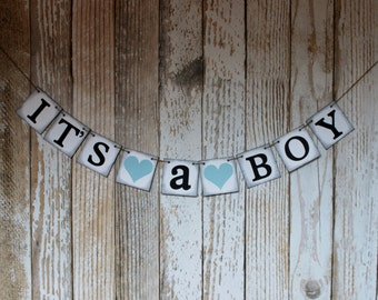 Baby Banner Its A Boy Baby Boy Shower Banner or Sign Rustic Vintage
