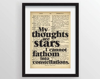 "John Green from The Fault in Our Stars ""My thoughts are stars I cannot fathom into constellations."" - Recycled Vintage Dictionary Art Print"