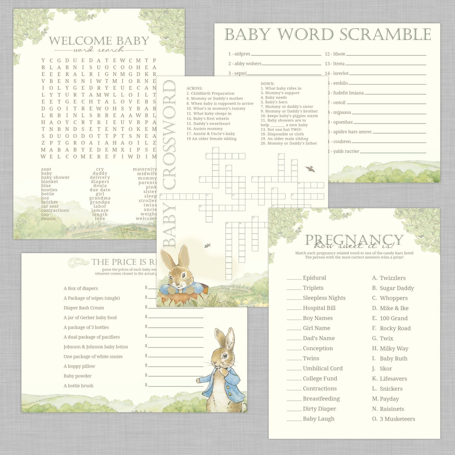Peter Rabbit Baby Shower Games INSTANT By DesignsbyCassieCM