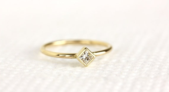 princess cut ring in 14k solid goldthin by khimjewelry