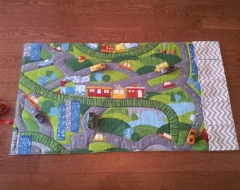 Car Road Play Mat-Playmat-Train Mat-Personalized-Road Play Mat-Pockets for Toys-Roll Up Play Mat-Road Mat-Boy Girl Christmas Gift-Quilt