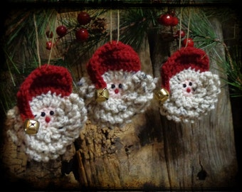 Set of 3 - Ornaments, Primitive Christmas Ornament, Primitive Santa Ornament, Christmas Gift Tag, Santa Face Ornament, OFG, FAAP