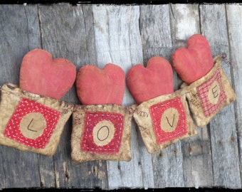Primitive Love Garland, Valentine Decor, Red Hearts, Rustic, Country, Banner, Bunting, Swag, Photo Prop, OFG FAAP