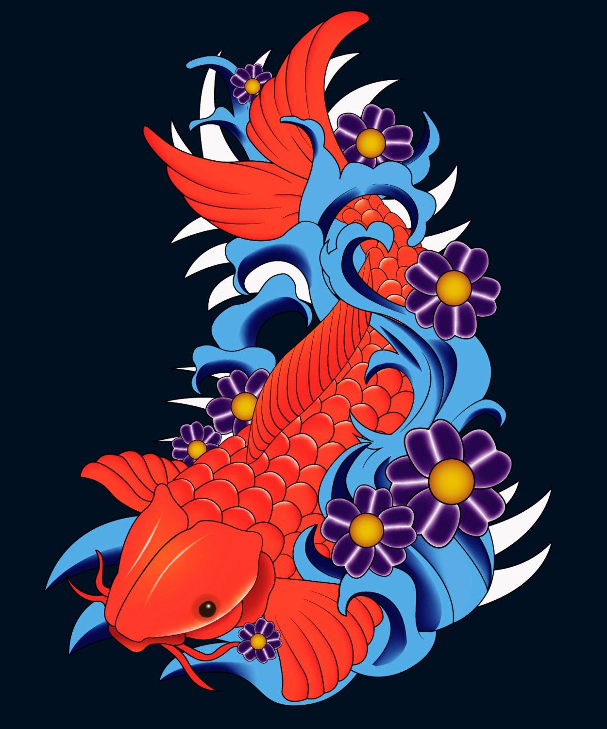 Red koi fish wall decal koi fish wall sticker large koi fish for Koi fish wall stickers