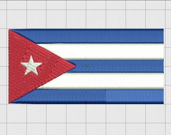 Cuba Country Flag Embroidery Design in 2x2 3x3 4x4 and 5x7 Sizes