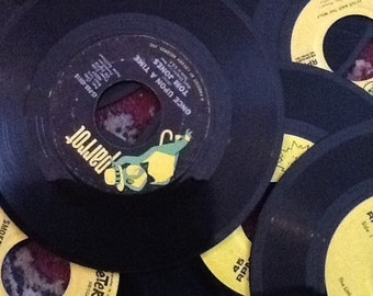 Lot of 40 Used 45 RPM Records Great For Crafting