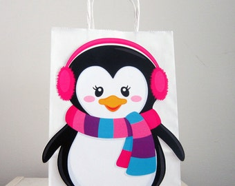 Penguin Goody Bags, Penguin Favor Bags, Penguin Party Bags, Winter Onederland Favor, Goody, Gift Bags